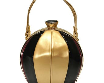 Black And Gold Beach Ball Top Handle Frame Shoulder Handbag