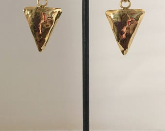 Gold plated brass circle and triangle clip earrings with amethyst stones