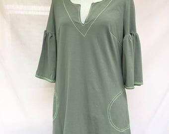 Light kaki cotton jersey dress - tulip sleeves dress - summer kaki dress - Hand made - Made in France
