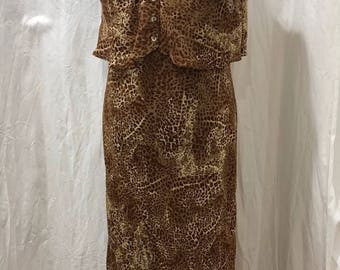 Positive Attitude 90s Dress Cheetah Print Size 14