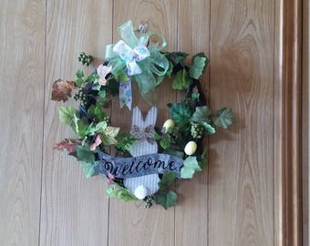Grapevine Easter Rabbit Welcome Berry Vine Wreath