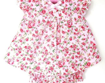 Baby Clothes, Baby  Girl Clothes, Pink baby Set, Baby Girl Rosy Top and Bloomers Set  Size 3-6 months Ready to Ship