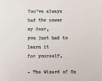 Wizard of Oz quote hand typed on antique typewriter scrapbooking