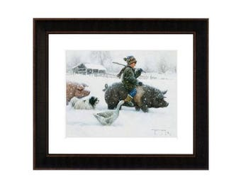 "Framed ""Piggy Back"" Art Print by Robert Duncan, Boy Riding Pig in Snow, Winter Art, Snow Scene, Christmas Art, Folk Art, Farm Winter Art"