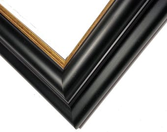 Black & Gold Wood Photo Frame, REAL GOLD, Black Picture Frame, Rounded, Enamel, 5x7, 8x10, 11x14, 16x20 17x20, 18x24, 20x24, 24x30 24x36