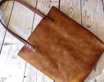 Caramel leather shopper, leather tote bag, shoulder bag, leather bag, leather purse,