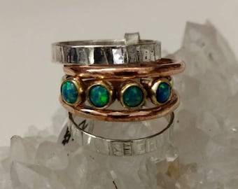 Australian Opal Five Stacked Band Ring, Size 7