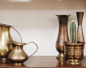 Vintage Brass Planter / Brass Planter Pot With Pedestal / Brass Pot / Hollywood Regency Brass Pot / Boho Planter / Boho Decor
