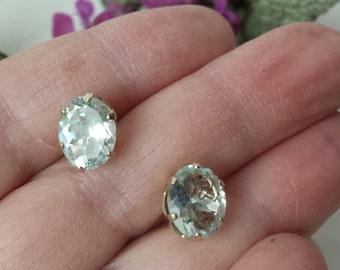 Vintage 14k White Gold Blue Topaz Stud Earrings Vintage Aquamarine 14k WG Stud Earrings