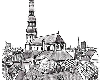 Riga cityscape - High quality Giclee print of an original illustration
