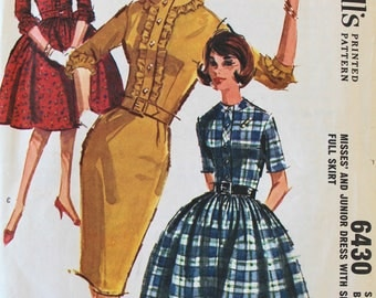 Vintage Sewing Pattern - 1960s Dress Pattern - McCall's 6430