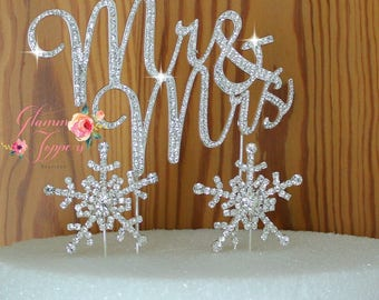 Snow Flakes Mr and Mrs Wedding Cake Topper In Silver genuine Crystal Rhinestones wedding quote cake decoration Free shipping