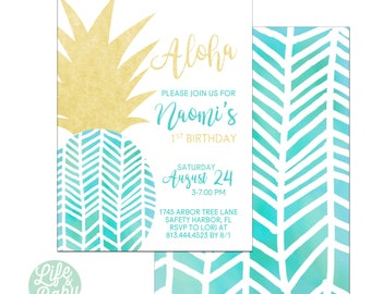 Pineapple Birthday Invitation | Aloha Birthday Invitation | Luau Invitation | Pineapple Baby Shower Invitation - 5x7 with reverse side