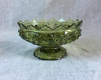Vintage Fenton Hobnail Colonial Green Candle Bowl