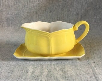 Vintage Sears Buttercup Federalist Gravy Boat and Underplate, Yellow Sauce Boat
