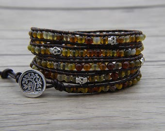 agate bracelet leather wrap bracelet skull bracelet Dark brown Dragon grain beads bracelet agate bracelet christmas gift bracelet SL-0591