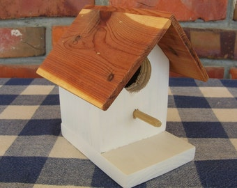 Cedar Birdhouse - White, Small, Decorative - Garden, Deck, Patio, Outdoor, Indoor Decorating
