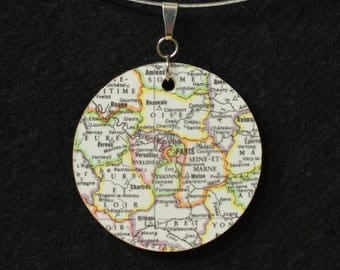 A Tale of Two Cities London Paris Reversible Recycled Map Handmade Pendant Necklace