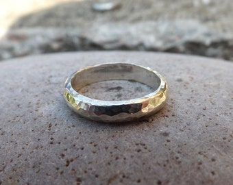 Men's Silver Meteorite Ring: Hammered Ring, Textured Silver, Silver Band Ring, Chunky Silver Ring, Men's handmade Ring, Men's Wedding Ring