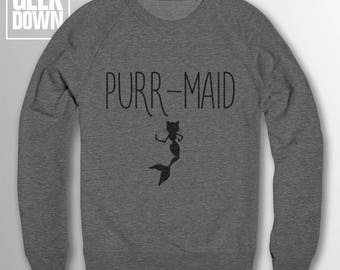 Purr-Maid sweatshirt // sweatshirt funny / funny jumper / funny sweater / mermaid sweater / mermaid jumper / cat lovers