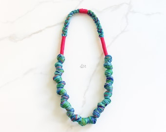 Sea Blue Rope long Necklace, Braided Necklace, Statement Necklace, Thread Fucsia Necklace, Boho Necklace, Handmade