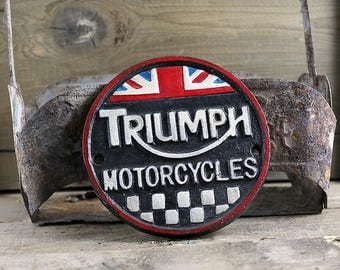 Vintage Style Triumph Motorcycle sign, Cast Iron Sign, Motorcycle sign, British Sign, Biker Sign, Collectible sign, Triumph Bike Sign,