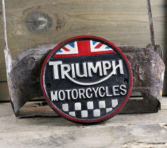 Vintage Style Triumph Motorcycle sign, Cast Iron Sign, Motorcycle sign, British Sign, Biker Sign, Collectible sign, Triumph Bike Sign,