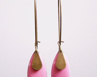 Pink sequin enamel drop earrings