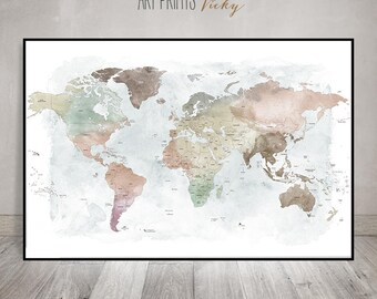 Large world map art, world map watercolour poster, Detailed pastel world map print, travel map, wall art, gift, home decor, ArtPrintsVicky.