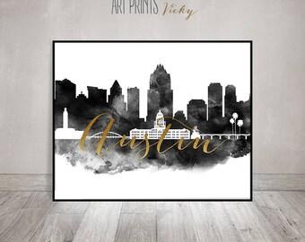 Austin art print, Austin skyline black and white Poster, Travel decor, Wall art, Texas, City prints, faux gold text, ArtPrintsVicky