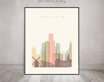 Amsterdam print, Poster, Wall art, Amsterdam skyline, City poster, Netherlands art, Gift, Home Decor, fine art prints, ArtPrintsVicky
