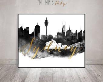 Sydney wall art, black and white watercolor travel poster, Wall art, Sydney skyline, Australia, faux gold text, Home Decor, ArtPrintsVicky