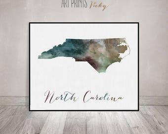 North Carolina state map print, Watercolor map, Wall art, North Carolina map poster North Carolina watercolor fine art  print ArtPrintsVicky