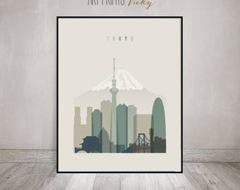 Tokyo print, Tokyo Poster, Wall art, Tokyo Skyline, Japan cityscape, City poster, Travel poster, Gift, Wall Decor, ArtPrintsVicky