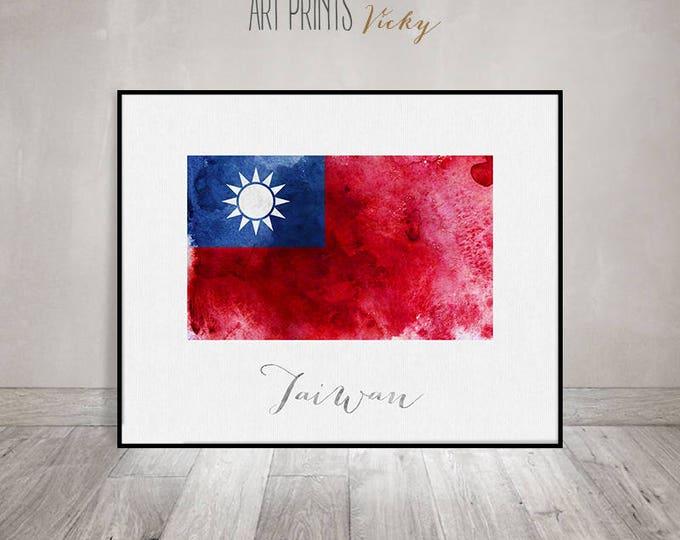 Taiwan flag print, Taiwan art poster, watercolor, travel, Wall art, watercolor flag, office decor, Home Decor, gift, ArtPrintsVicky