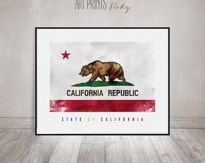 California state flag, art print, poster, California flag watercolor, Wall art, United States Flag, Travel gift, Office decor ArtPrintsVicky