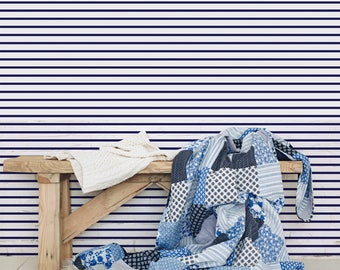 Navy Blue Stripe Wallpaper. Ideal for Home or Work Interiors.