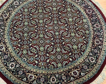 "6'7"" x 6'7"" Round Indian Herati Fish Design Oriental Rug - Hand Made - 100% Wool"