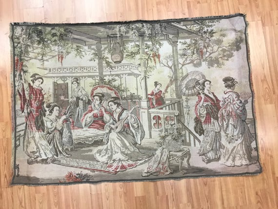 "3'2"" x 4'8"" French Tapestry - 1980s - Chinese Gathering - Hand Made"