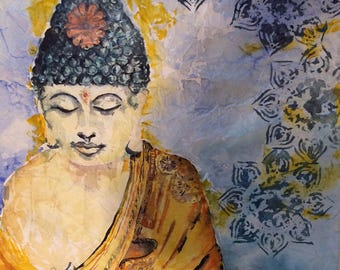 """Meditating Buddha Watercolor Painting """"Peace Within"""" 24x18x2"""