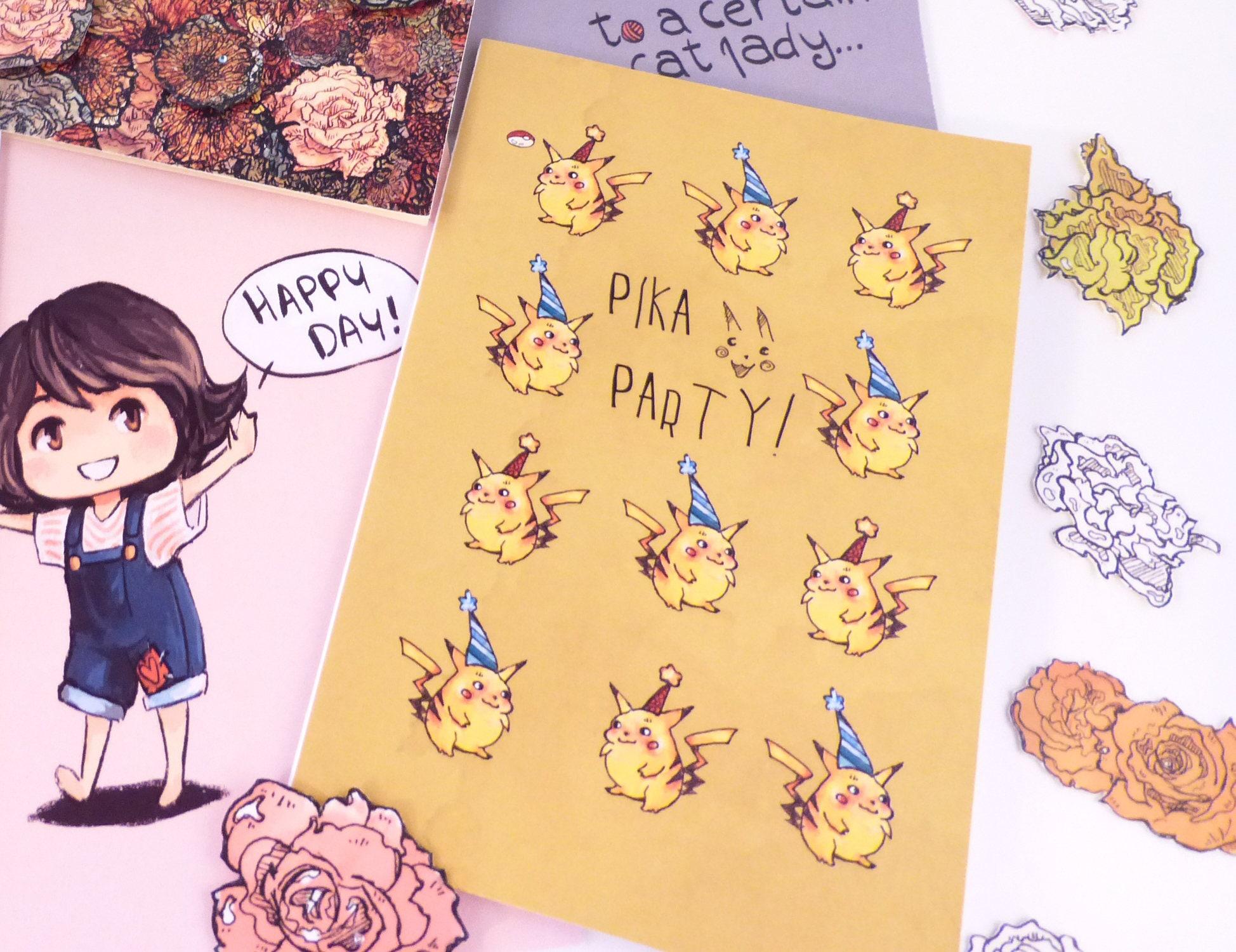 Pikachu Pokemon Card Blank Greeting Card Happy Birthday