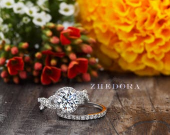 2.45 CT Round Cut Engagement Ring band set in Solid 14k or 18k White Gold Bridal, Wedding Set , Engagement Set, Wedding band by Zhedora