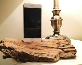 Driftwood iPhone Dock, iPhone docking station, iPhone charging station, iPhone charger, wooden iPhone dock - F2