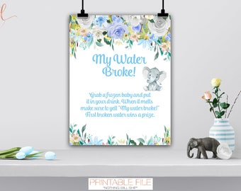 My Water Broke Baby Shower Game Sign, Water Broke Baby Shower Activity, Boy  Girl