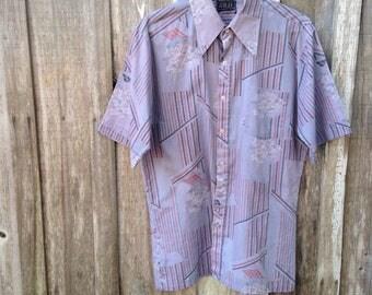 Retro Button Up Men's Shirt, Purple Floral Abstract Print, Size XL, Surfer Shirt
