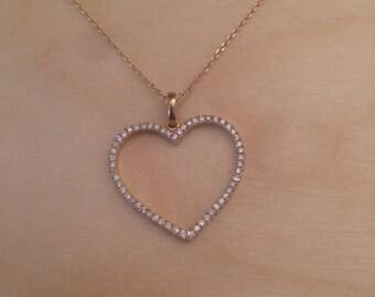 Heart pendant, heart diaomond necklace, heart  gold necklace, pave heart necklace, romentic gift, gift for her, Christmas gift for women