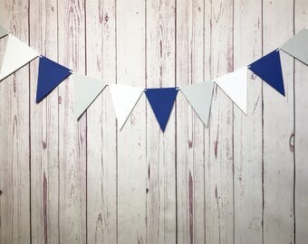 Triangle Bunting, Blue Grey Bunting, Paper Garland, Pennant Banner, Triangle Pennant, Triangle Garland, Photo Prop, Boy Nursery Decor