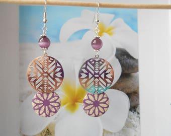 Purple ivory sequin Flower Earrings