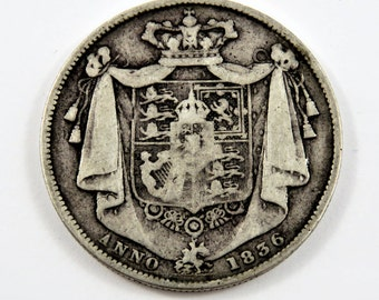 Great Britain 1836 Sterling Silver Half Crown Coin.
