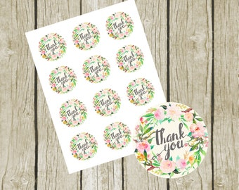 """Thank You Stickers Printable. Instant Download.  2"""" Round Tags.  Floral Baby Shower Favor Tags.  Printable Bridal Shower Favor Tags."""